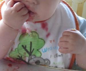BabyspeckAT_20140524-0529_Muziwu_6M_BLW-Anfang_Erdbeere