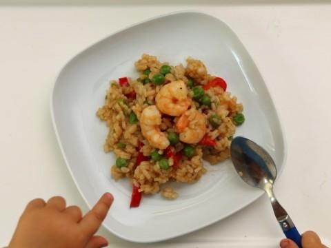 Gebratener Reis mit Garnelen auf babyspeck.at ist ein ideales Babyrezept für BLW Babys, die Meeresfrüchte lieben.
