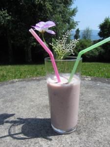 Sommerlicher, fruchtiger Milchshake aus Apfel, Banane, Himbeere ohne Zucker für Babys und Kleinkinder