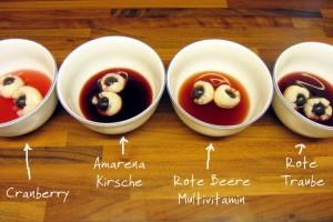 Babyspeck & Brokkolis Saftvergleich für Halloweens-Augäpfel-Bowle: Cranberry, Kirsche, Rote Beeren Multivitamin und Rote Trauben