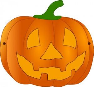 Farbige Halloweenkürbismaske zum Basteln für Kleinkinder auf babyspeck.at