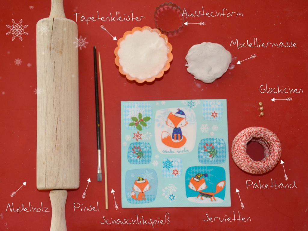 Babyspeck & Brokkoli Adventkalender, 5. Dezember 2015, Fimo-Christbaumanhänger mit Serviettentechnik von Titantina, Materialliste