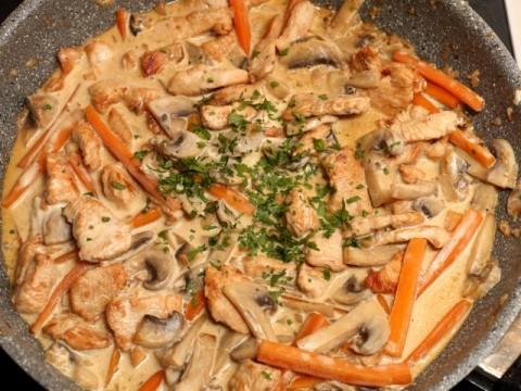 Putengeschnetzeltes mit Champignons und Karotten (babyspeck.at)