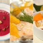 Menü für die Weihnachtsfeiertage mit Rote-Beete-Suppe, Folienfisch mit Fenchel und Orangen, exotischem Obstsalat, geeignet für Baby led weaning Babys ab 6 Monaten auf babyspeck.at